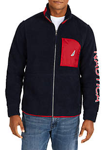 Sherpa Full-Zip With Logo Detail Jacket