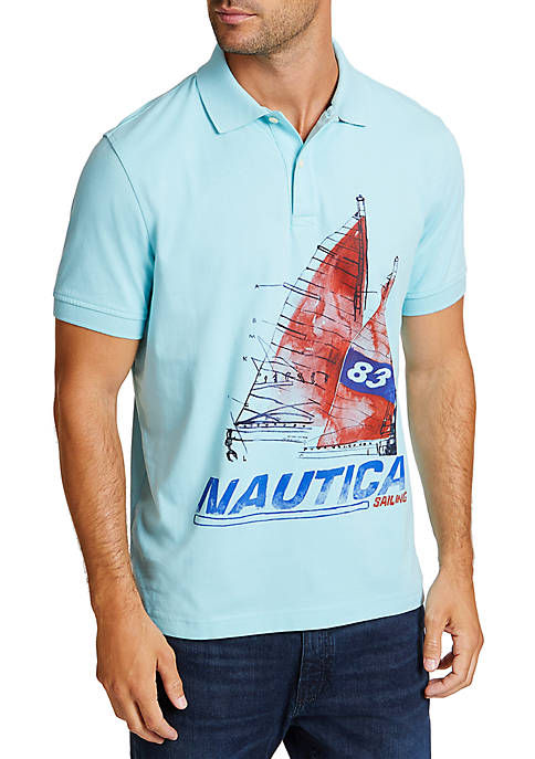Nautica Artist Series Painted Boat Classic Fit Polo