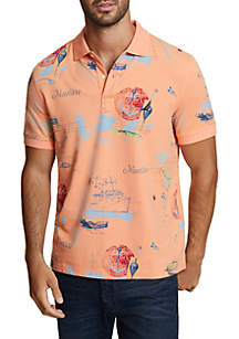 Artist Series Painted Map Classic Fit Polo Shirt