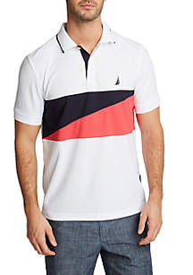 Nautica Short Sleeve Classic Fit Navtech Chest Block Polo