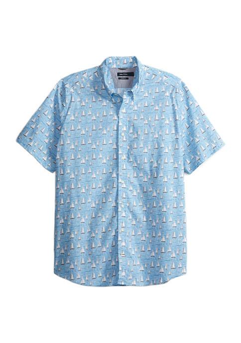 Big & Tall Sailboat Stretch Poplin Shirt