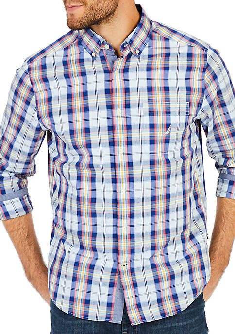Nautica Big & Tall Blue Depths Plaid Shirt