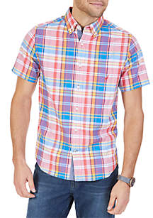 Big & Tall Stretch Cotton Coral Plaid Short Sleeve Shirt