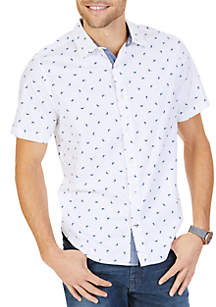 Big & Tall Stretch Cotton Printed Short Sleeve Shirt