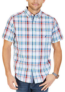 Big & Tall Short Sleeve Large Plaid Print Shirt