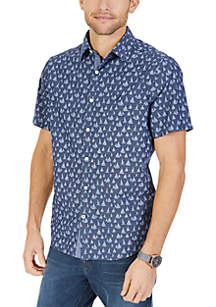 Big & Tall Short Sleeve Sailboat Print Woven Shirt