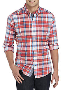 Big & Tall Plaid Stretch Poplin Shirt
