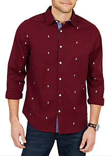 Big & Tall Classic Fit Long Sleeve Multicolor Anchor Button Down