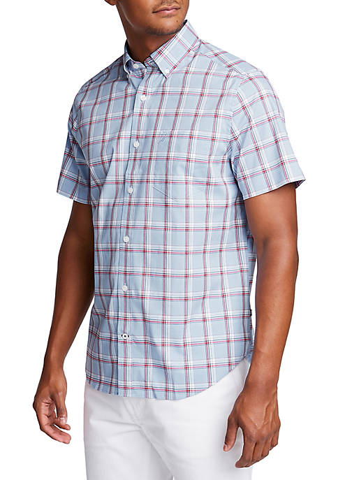 Big & Tall Short Sleeve Wrinkle-Resistant Plaid Classic Fit Shirt