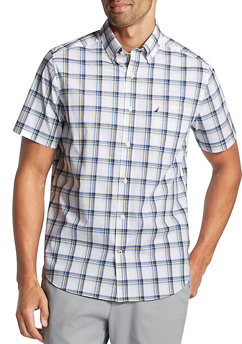 Nautica Big & Tall Short Sleeve Wrinkle-Resistant Plaid