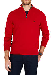 Half-Zip Mock-Neck Sweater