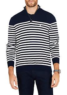 Half-Zip Mock-Neck Striped Navtech Sweater