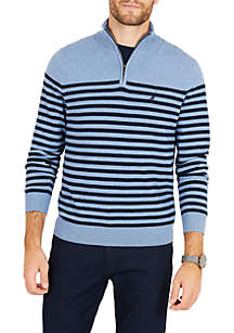 Half-Zip Mock-Neck Striped Navtech Sweater