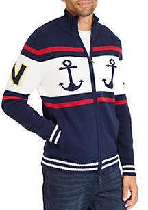Full-Zip Blocked Anchor Fairisle Cardigan