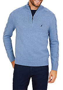 Half-Zip Cable Sleeve Sweater