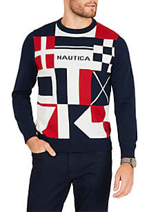 Graphic Intarsia Signal Flags Crew Neck Sweater