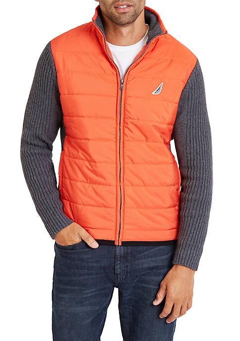 Nautica Full-Zip Graphic Mock Neck Sweater