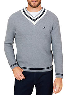 Cable Tipped V-Neck Sweater