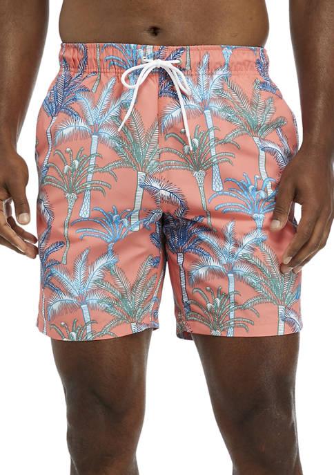 Nautica Palm Tree Print Swim Trunks