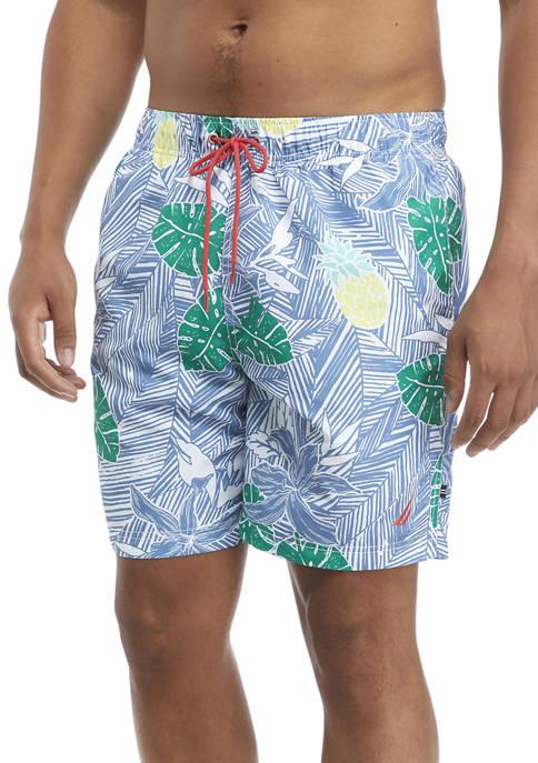 Nautica Palm Fronds Print Swim Trunks
