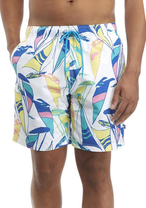 Nautica Multi Color Sail Print Swim Trunks