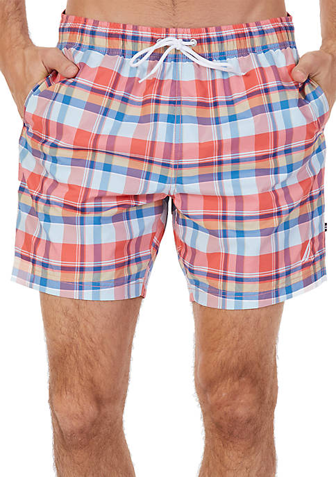 Nautica Quick Dry Madras Plaid Swim Trunks