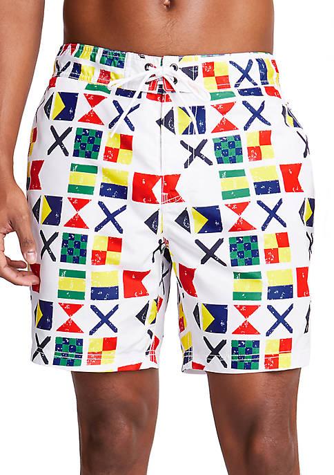 Nautica Sail Flag Motif Swim Trunks