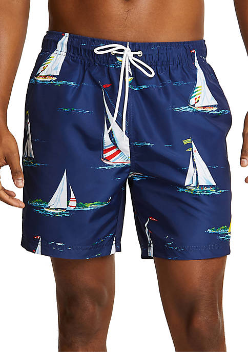 Boat Motif Full-Elastic Swim Shorts