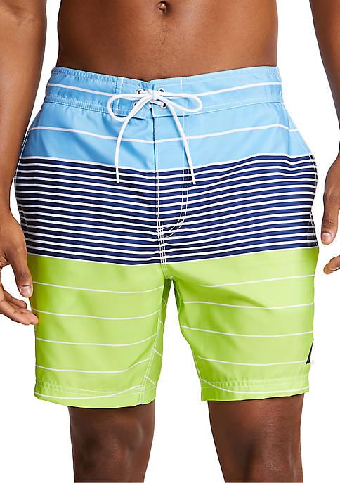 Nautica Variegated Stripe Half-Elastic Swim Shorts