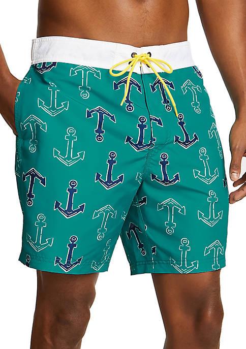Nautica Anchor Icon Half-Elastic Swim Trunks