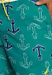 Anchor Icon Half-Elastic Swim Trunks