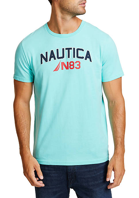 Nautica Big Wave Surfing Short Sleeve Crew Neck
