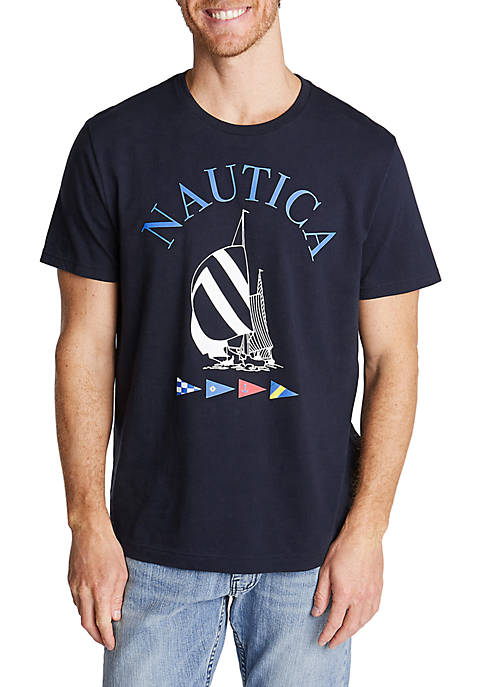 Crewneck Jersey T-Shirt in Spinnaker Graphic