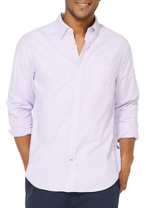 Nautica Mens Oxford Solid Button Down Shirt