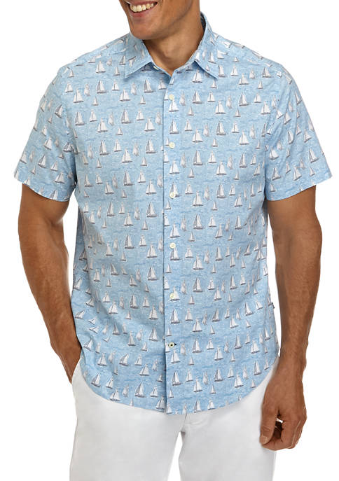 Nautica Short Sleeve Poplin Sailboat Print Shirt