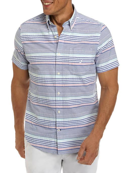 Nautica Short Sleeve Seersucker Multi Stripe Shirt