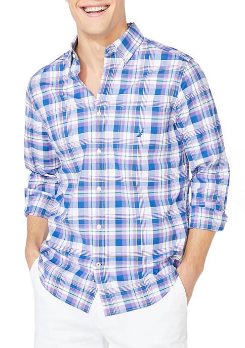 Long Sleeve Poplin Plaid Casual Button Down Shirt