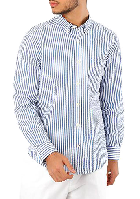 Nautica Classic Fit Seersucker Stripe Button-Down Shirt