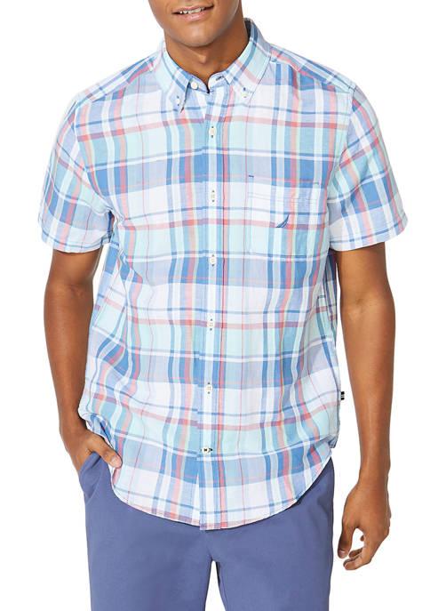 Nautica Classic Fit Linen Plaid Button Down Shirt