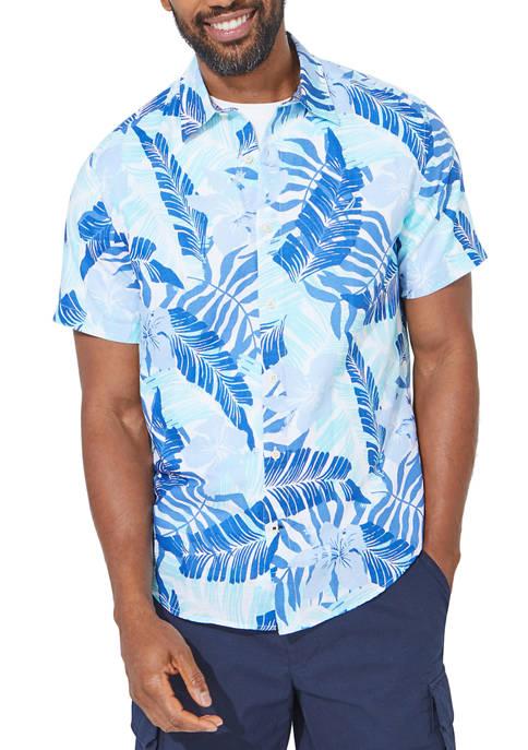 Linen Palm Foliage Print Button Down Shirt