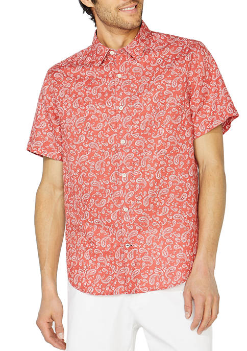 Nautica Linen Paisley Print Button Down Shirt