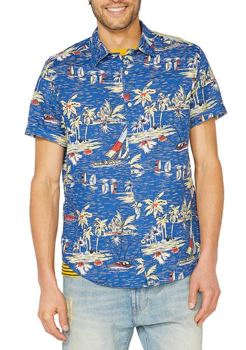 Nautica Classic Fit Linen Print Button Down Shirt