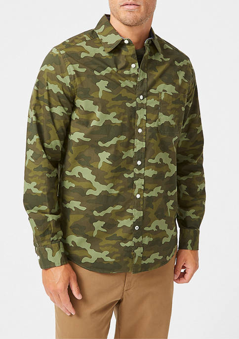 Nautica Classic-Fit Camouflage Print Poplin Shirt