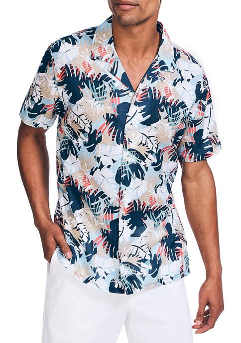 Nautica Short Sleeve Linen Print Shirt