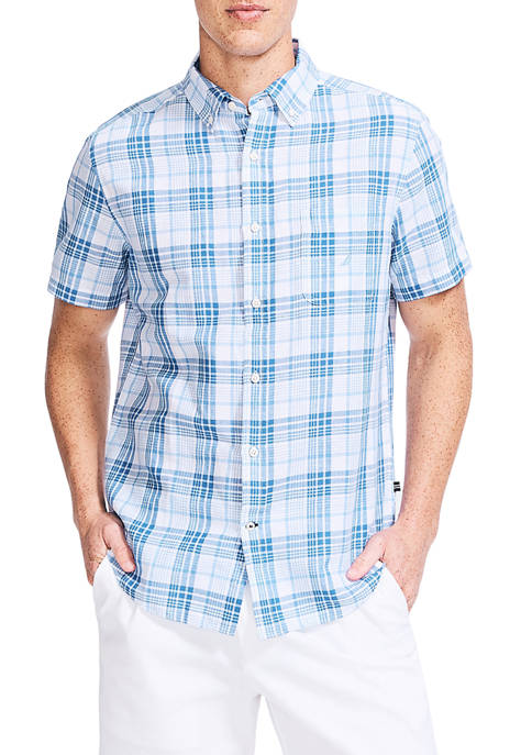 Nautica Short Sleeve Blue Plaid Print Linen Shirt