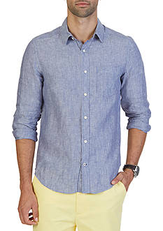Nautica Slim Fit Solid Linen Shirt