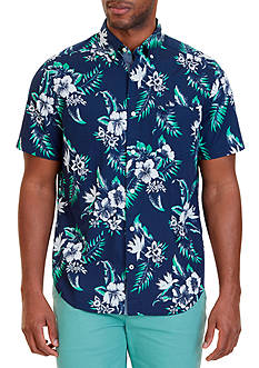 Nautica Classic Fit Floral Print Short Sleeve Shirt