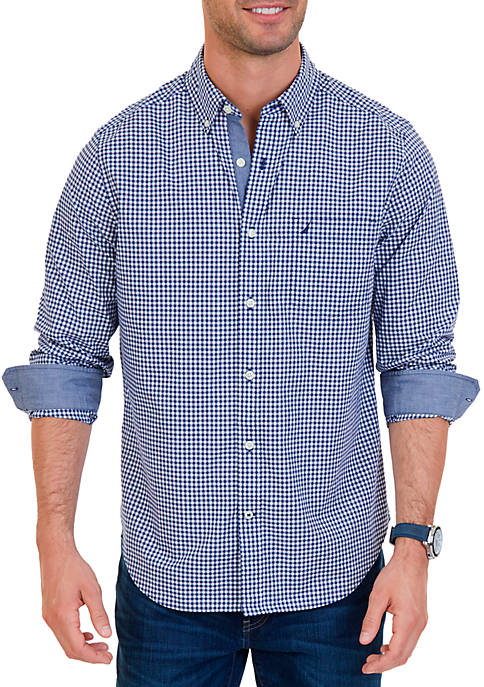 Nautica Classic Fit Gingham Stretch Cotton Shirt