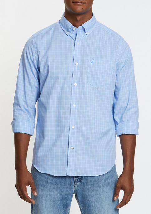 Classic Fit Plaid Long Sleeve Oxford Shirt