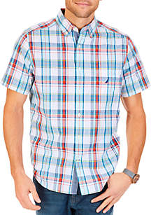 Short Sleeve Scale Plaid Button Down Shirt